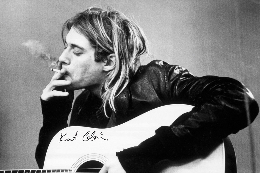 Kurt Cobain with Cig and Guitar